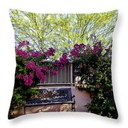 Lonely Bench In The Evening Sun Throw Pillow