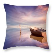 Lonely Boat And Amazing Sunset At The Sea Throw Pillow