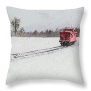 Lonely Caboose Throw Pillow