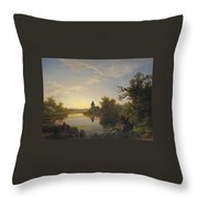 Lonely Fisherman Throw Pillow