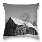 Lonely Grey Barn Throw Pillow