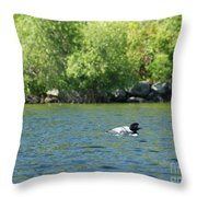 Lonely Loon Taking The Red Eye Throw Pillow