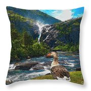 Lonely Near The Waterfall 1 Throw Pillow