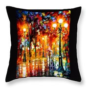 Lonely Night 3 - Palette Knife Oil Painting On Canvas By Leonid Afremov Throw Pillow