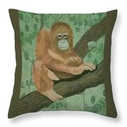 Lonely Oragutang Throw Pillow