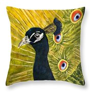 Lonely Peacock Throw Pillow