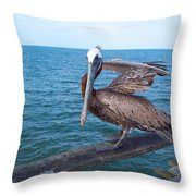 Lonely Pelican  Throw Pillow