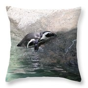 lonely Penquin Throw Pillow