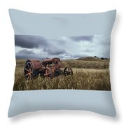 Lonely Tractor Panorama Throw Pillow