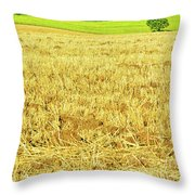 Lonely Tree And Stubble Filed Throw Pillow