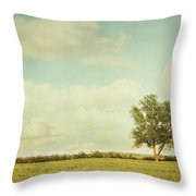 Lonely Tree In Meadow With Vintage Look Throw Pillow by Sandra Cunningham