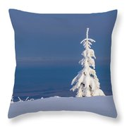 Lonely Tree On A Mountain Top Throw Pillow