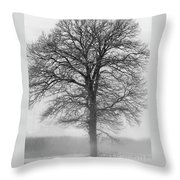 Lonely Winter Tree Throw Pillow