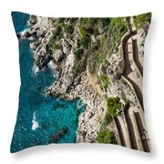Long And Twisted Walk To The Shore - Azure Magic Of Capri Throw Pillow