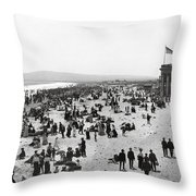 Long Beach California And Bath House C. 1902 Throw Pillow