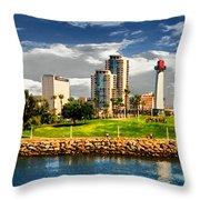 Long Beach Coast Line Throw Pillow