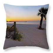 Long Beach Sunrise - Mississippi - Beach Throw Pillow