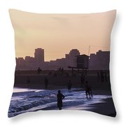 Long Beach Sunset Throw Pillow