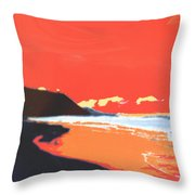 Long Blue Beach Throw Pillow