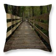 Long Boardwalk Through The Wetlands Throw Pillow
