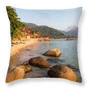 Long Chairs On A Beach In Pulau Tioman, Malaysia Throw Pillow