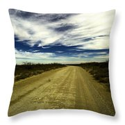 Long Dusty Road In Jal New Mexico  Throw Pillow