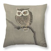 Long-eared Owl On Bare Tree Branch, Ohara Koson, 1900 - 1930 Throw Pillow