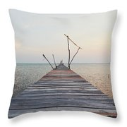 Long, Empty And Old Wooden Dock Over The Water At Sunset Throw Pillow
