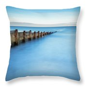 Long Exposure Of Blyth Beach Groyne Throw Pillow