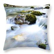 Long Exposure River Shkumbin  Throw Pillow