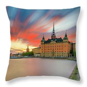 Long Exposure Stockholm Sunset Throw Pillow