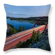 Long Exposure View Of Pennybacker Bridge Over Lake Austin At Twilight - Austin Texas Hill Country Throw Pillow