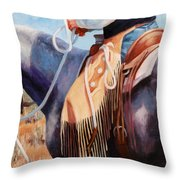 Long Fringed Chink Chaps Western Art Cowboy Painting Throw Pillow