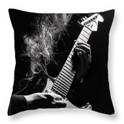 Long Hair Man Playing Guitar Throw Pillow