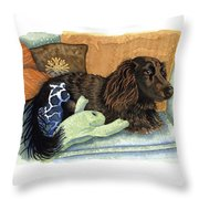 Long-haired Dachshund Watercolor Throw Pillow