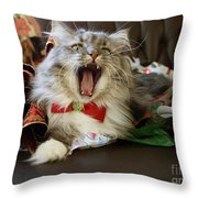 Long Haired Grey And White A Cat Yawns Amid Christmas Wrapping Paper Throw Pillow