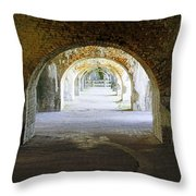 Long Hall At Fort Pickens Throw Pillow