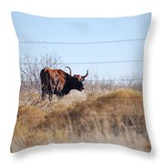Long Horn Throw Pillow