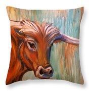Long Horn Throw Pillow