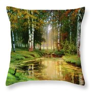 Long Indian Summer In The Woods Throw Pillow