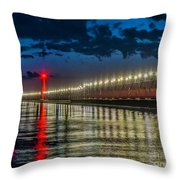 Long Lights At Grand Haven Pier Throw Pillow