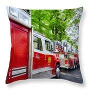 Long Line Of Fire Trucks Throw Pillow