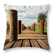 Long Long Way To The Bayou - Louisiana Dock Throw Pillow