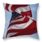 Long May She Wave Throw Pillow