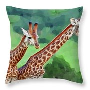 Long Necked Giraffes 2 Throw Pillow
