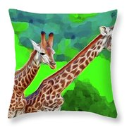 Long Necked Giraffes 3 Throw Pillow