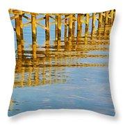 Long Wooden Pier Reflections Throw Pillow