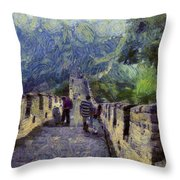 Long Slope Of The Great Wall Of China Throw Pillow