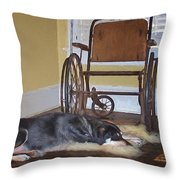 Long Wait - Dog - Wheelchair Throw Pillow