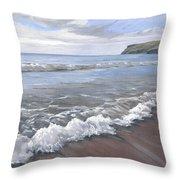 Long Waves At Trebarwith Throw Pillow